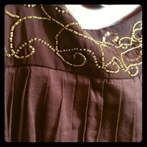 Gold beaded and pleated dark brown skirt